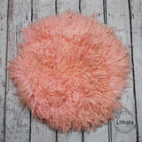 Round wool blanket, stuffer curly felt, newborn studio photography props (60CM ) Peach