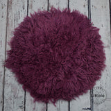 Round wool blanket, stuffer curly felt, newborn studio photography props (60CM ) Purple