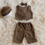 Littolo Gentleman Costume For Newborn Photography Props (Chocolate)