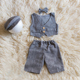 Littolo Gentleman Costume For Newborn Photography Props  set of 4 (Grey)