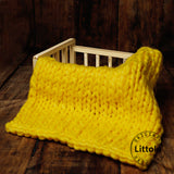 Littolo Newborn chunky knit wool blanket, layer for newborn photography (Sunlight Yellow)