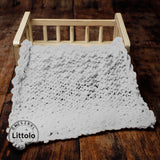 Littolo layer Hand spun marino wool knit layer blanket-New born photography prop layer-Chunky thin layer (White)