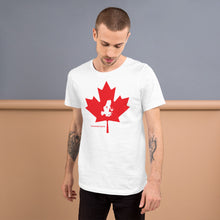 Load image into Gallery viewer, Oh Canada! Transporting Dart Frog & Maple Leaf Short-Sleeve Unisex T-Shirt