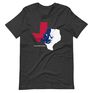 Texas State Outline With Transporting Dart Frog Short-Sleeve Unisex T-Shirt