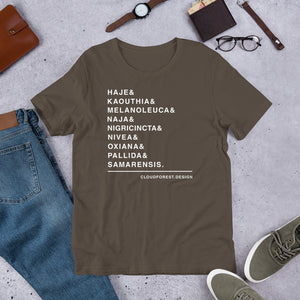 Naja Species List Short-Sleeve Unisex T-Shirt