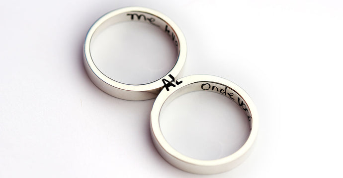 Couple matching peronalised ring set
