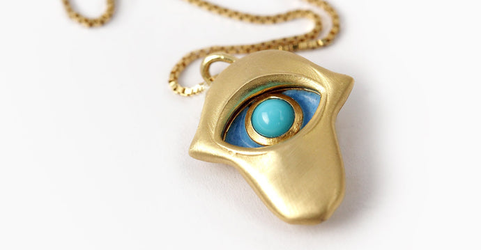 Hamsa hand protective eye pendent with Arizona Turquoise stone,  jewish gold pendant jewelry