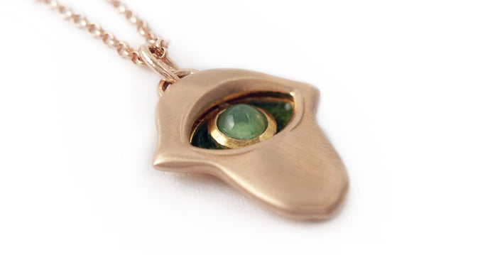 hamsa hand and eye charm necklace with green Chrysoprase stone