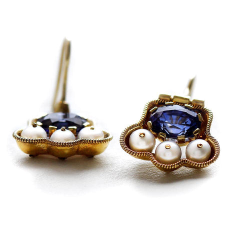 Japanese jewelry - custom handmade jewelry, Pearls and blue Sapphire