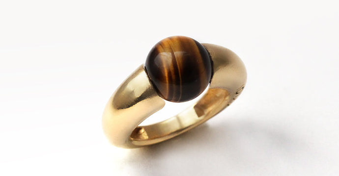 sweet and colourful Tiger eye gemstone ring in gold or sterling silver