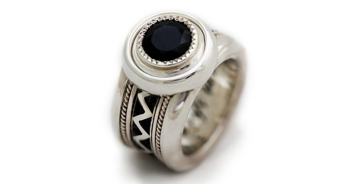 wide misti wedding band with black stone for men
