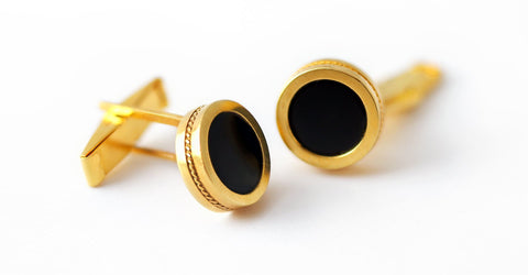 Boxy twins- black and gold cufflinks