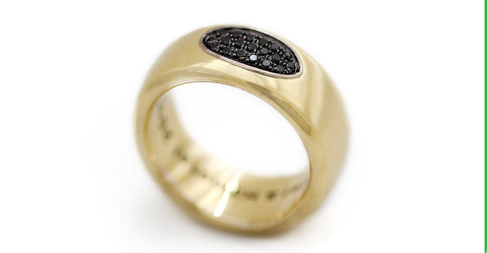 Armor black diamond gold band ring