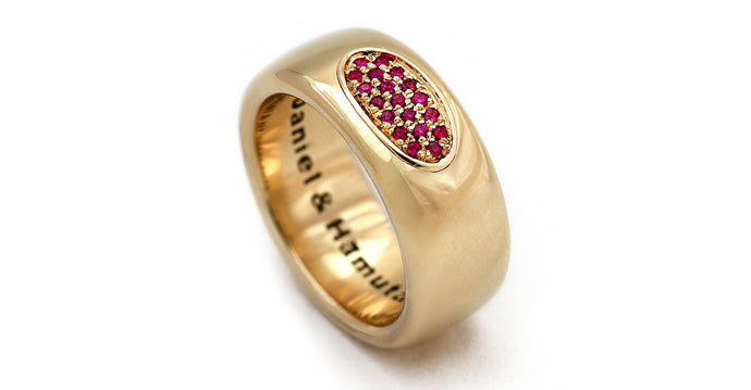 Gold and ruby promise ring for him or her