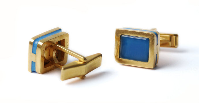retirement jewelry gift for men, Rectangular gold cufflinks with blue enamel decoration and blue Agate gemstone