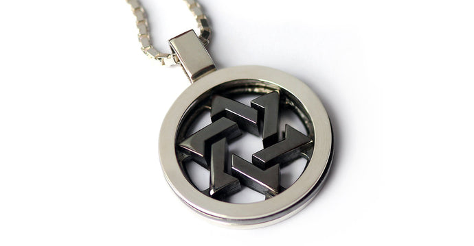 Star of David with dark black Rhodium, silver or white Gold pendant