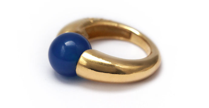 handmade gold ring with Blue round stone, a unique statement ring that is out of the ordinary