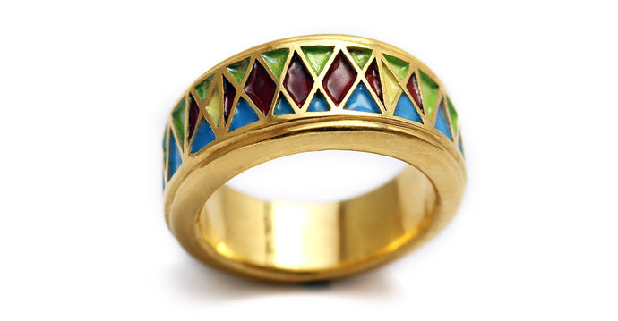 yellow gold metal mesh filled in with natural enamel colors ring
