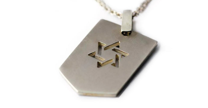 Jewish Star of David Army Necklace, a personalized star of David in silver or gold pendent