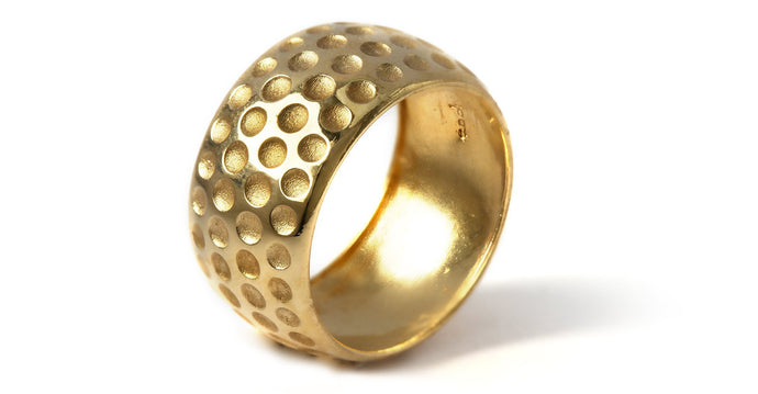 Gold golf ball ring mens wedding band