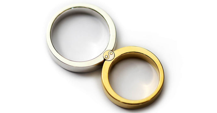 yin yang ring set in white and yellow gold, 2 rings for couples