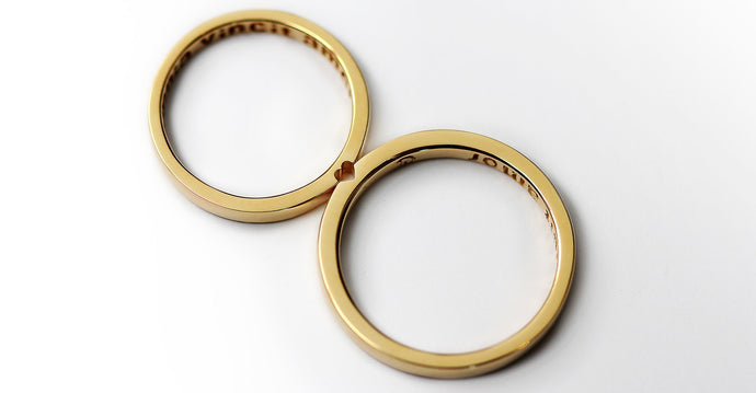 Gold promise rings set with heart shape for couple