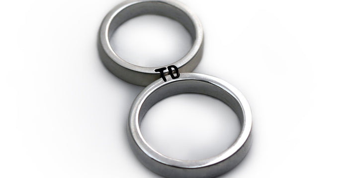 silver ring set engraved with your own initials