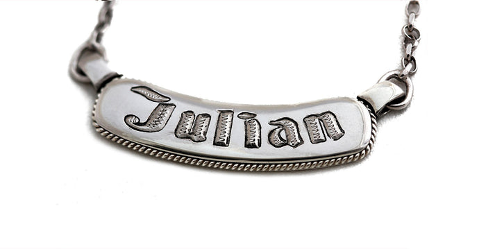 Best name bar necklace, a custom silver jewelry with filigree work  and gothic geometric font
