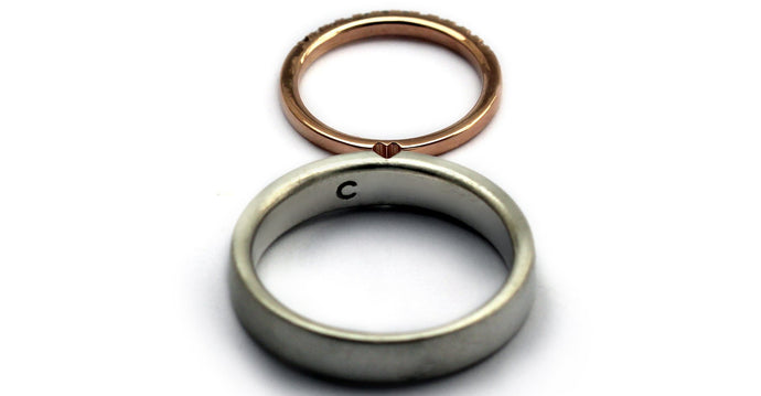 85eaaf22e1 Different metal matching promise rings for couples