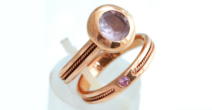 rose gold with Amethyst and pink Sapphire