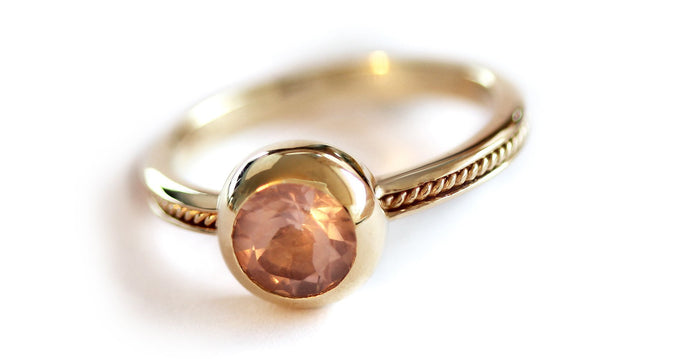pink solitaire engagement ring made in gold or sterling silver