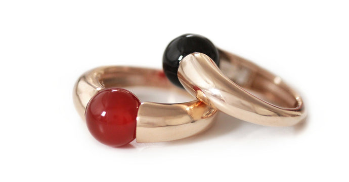 Solitaire Red Agate Gemstone Ring. a unique statement ring in rose gold