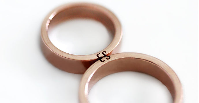 rose gold wedding bands engraved with initials