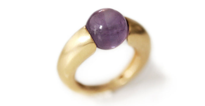 Statement Ring in Sterling Silver or gold Ring, Unique solitary ring with purple Amethyst gemstone, the new best gift for women