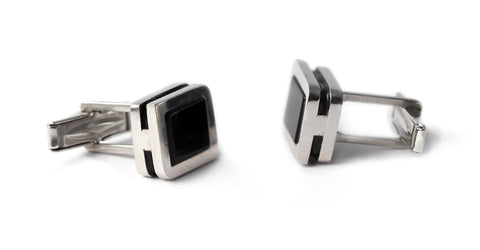 Square twins - Onyx suit cufflinks