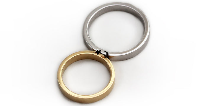 Moon and star wedding rings