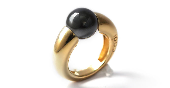 Gold ring with black stone, an black Amethyst ring
