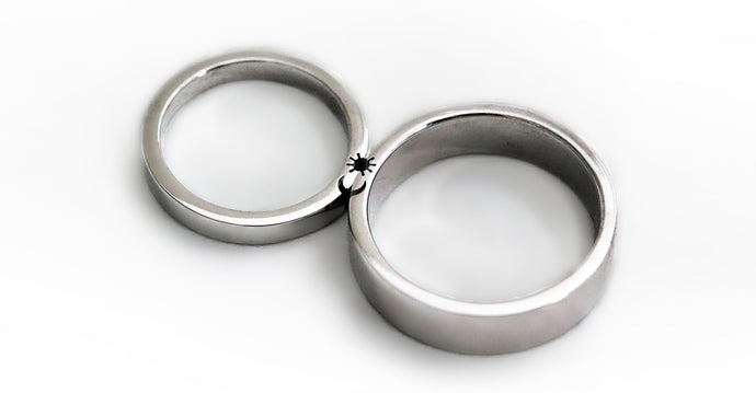 Sun and moon wedding rings