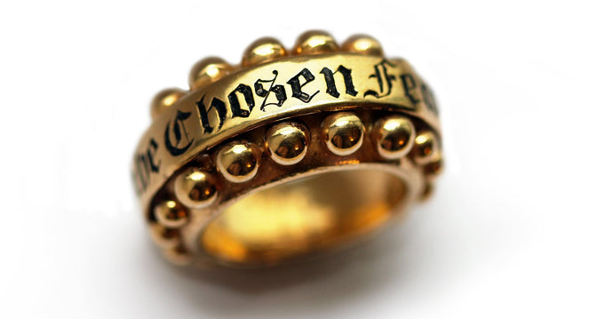 gold or silver ring with customizing stylish rich Gothic typography