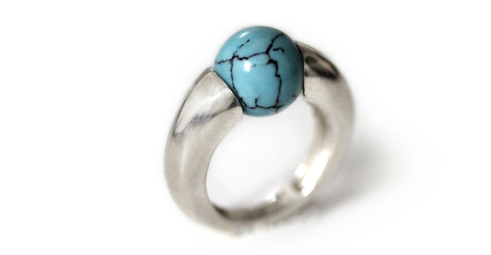 minimalist ring design ring with big round Turquoise gemstone