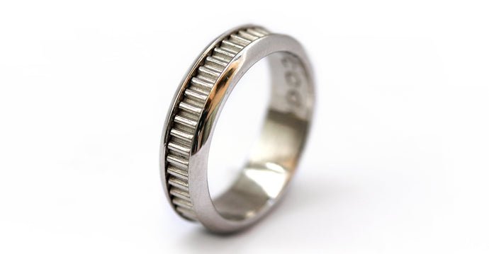 Coil indented handmade silver his and her couple ring
