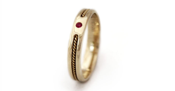 Tribal style gold with ruby Twist promise ring
