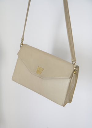 Cream 80s Leather Handbag