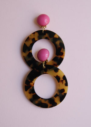 Pink Ecaille Tortoiseshell Earrings