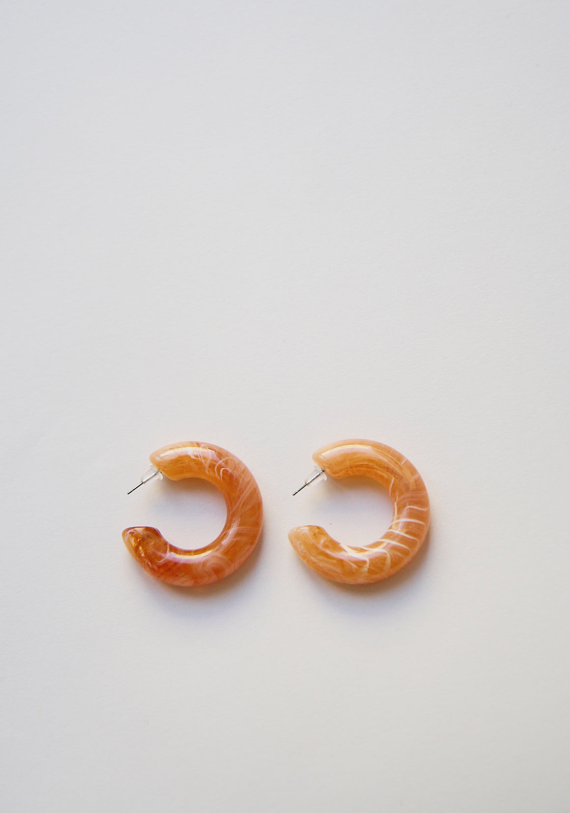 Coral Bold Marble Hoops
