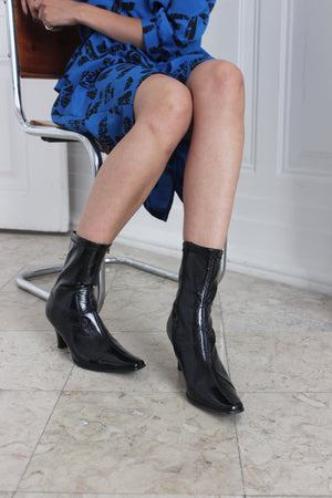 Patent Black Long Toe Boots