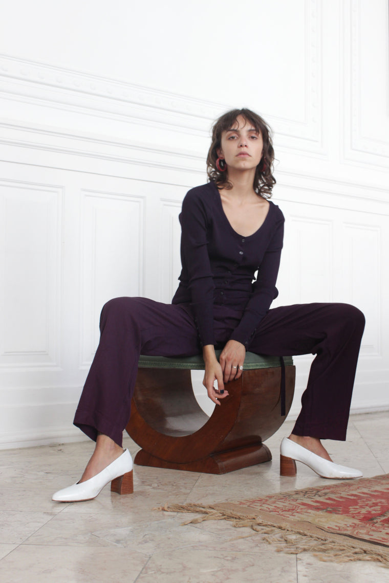 Aubergine Loose Leg Trousers