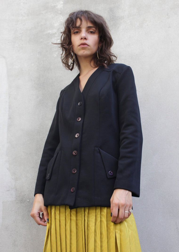 Black Tailored Duster Jacket