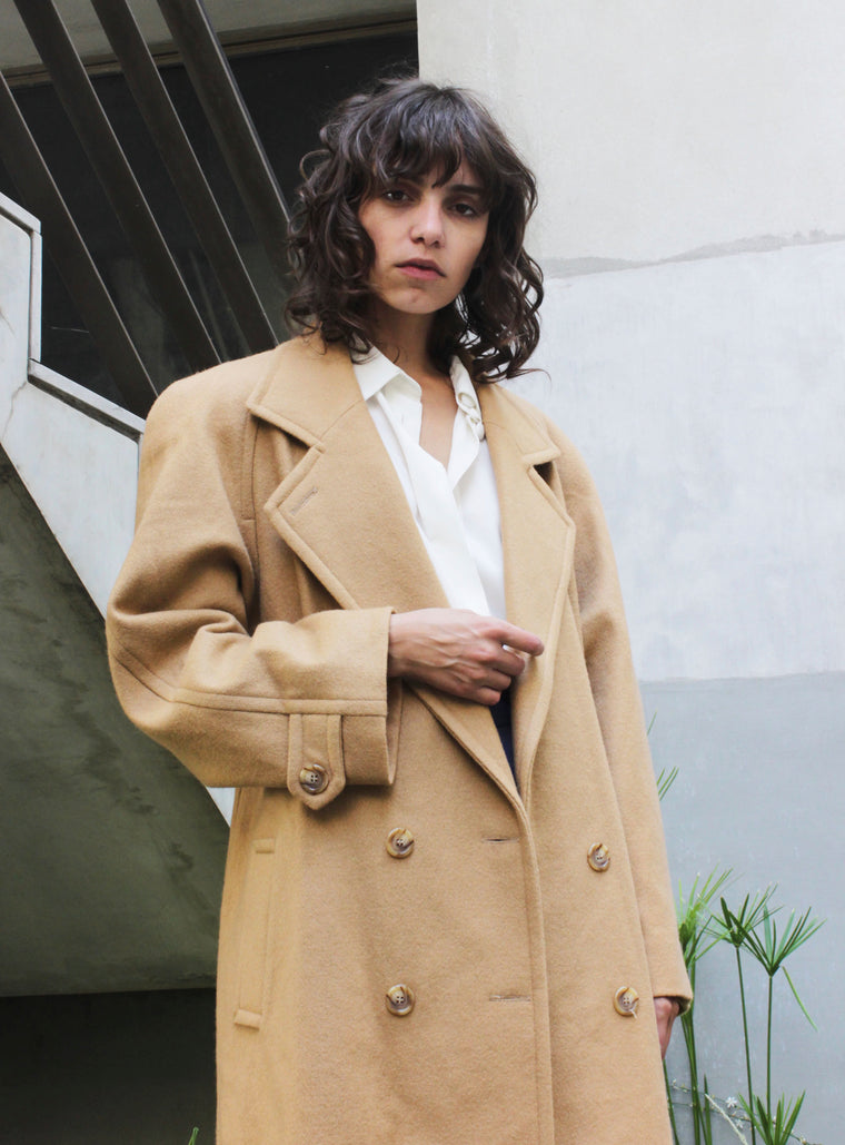 Oversized Camel Wool Tailored Coat
