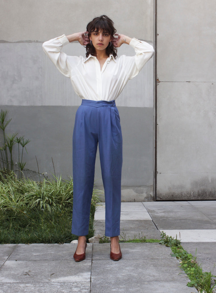 Powder Blue Tapered Trousers